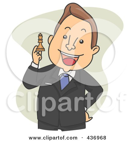 Royalty-Free (RF) Clipart Illustration of a Strategic Businessman Holding Up A Chess Piece Over Green by BNP Design Studio