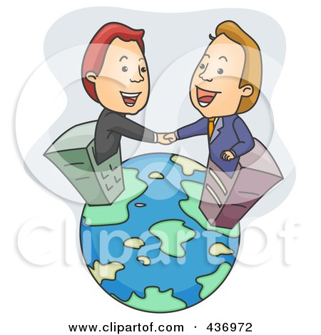 Royalty-Free (RF) Clipart Illustration of Two Businessmen In Skyscrapers, Shaking Hand On A Globe by BNP Design Studio