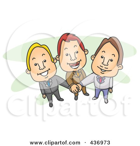 Royalty-Free (RF) Clipart Illustration of a Team Of Businessmen With Their Hands All In by BNP Design Studio