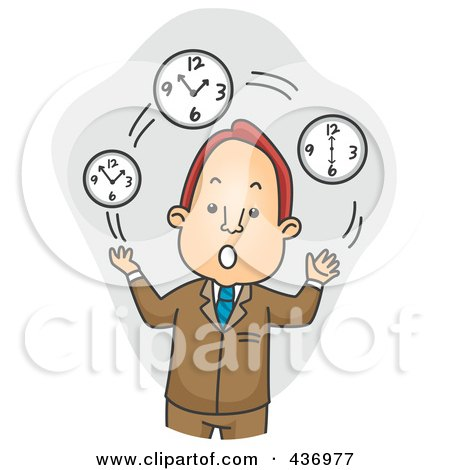 Royalty-Free (RF) Clipart Illustration of a Businessman Juggling Time Over Gray by BNP Design Studio