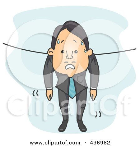 Royalty-Free (RF) Clipart Illustration of a Wet Businessman Hung Out To Dry by BNP Design Studio