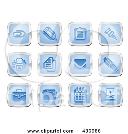 Royalty-Free (RF) Clipart Illustration of a Digital Collage Of Blue And Silver Square Business And Office Icons by AtStockIllustration