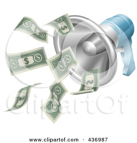 Royalty-Free (RF) Clipart Illustration of a Money Flying Out Of A 3d Megaphone by AtStockIllustration