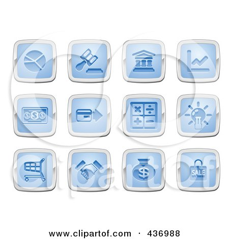 Royalty-Free (RF) Clipart Illustration of a Digital Collage Of Blue And Silver Square Business And Finance Icons by AtStockIllustration