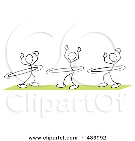 Royalty-Free (RF) Clipart Illustration of a Digital Collage Of Stickler Stick People Using Hula Hoops by Johnny Sajem