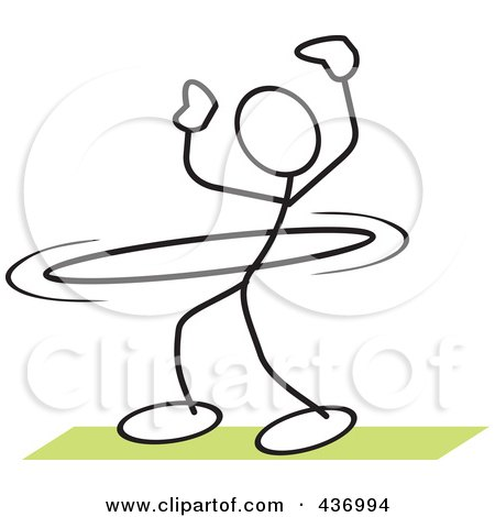 Royalty-Free (RF) Clipart Illustration of a Stickler Stick Person Using A Hula Hoop - 1 by Johnny Sajem