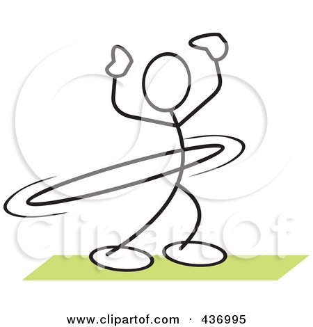 Royalty-Free (RF) Clipart Illustration of a Stickler Stick Person Using A Hula Hoop - 2 by Johnny Sajem