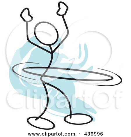 Royalty-Free (RF) Clipart Illustration of a Stickler Stick Person Using A Hula Hoop - 6 by Johnny Sajem