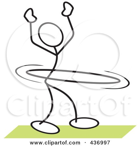 Royalty-Free (RF) Clipart Illustration of a Stickler Stick Person Using A Hula Hoop - 3 by Johnny Sajem