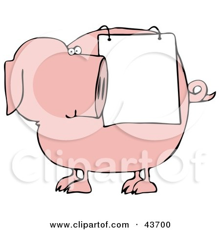 Clipart Illustration of a Pink Pig Looking Back At A Sign Draped On His Side by djart