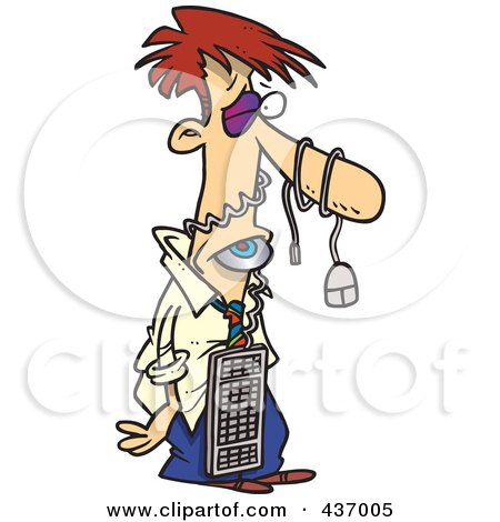 Royalty-Free (RF) Clipart Illustration of a Man Beat Up By A Computer by toonaday