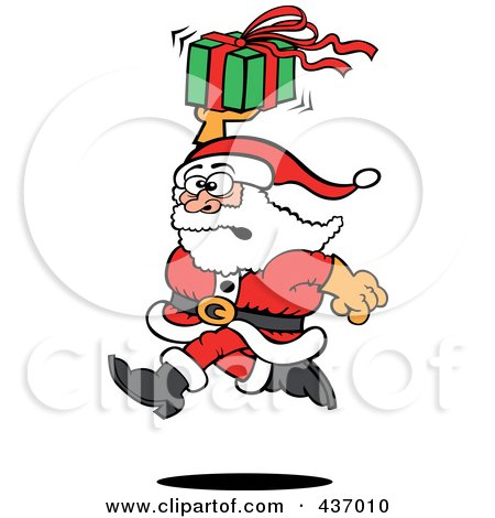 Royalty-Free (RF) Clipart Illustration of Santa Running And Holding Up A Gift by Zooco