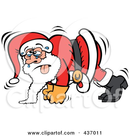 Royalty-Free (RF) Clipart Illustration of Santa Sweating And Doing Pushups by Zooco