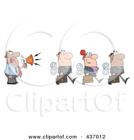 Royalty-Free (RF) Clipart Illustration of a Hispanic Businessman Yelling After His Wind Up Employees With A Megaphone by Hit Toon