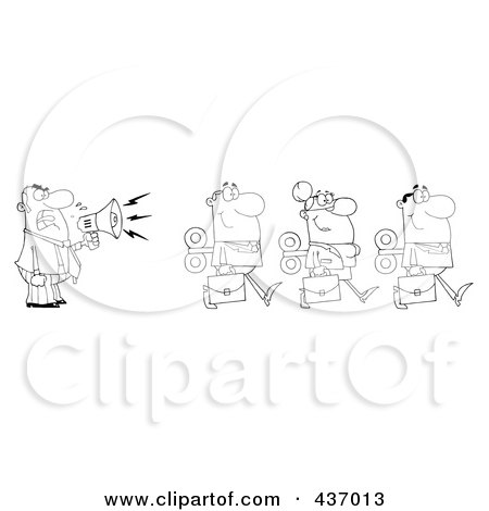 Royalty-Free (RF) Clipart Illustration of an Outlined Businessman Yelling After His Wind Up Employees With A Megaphone by Hit Toon