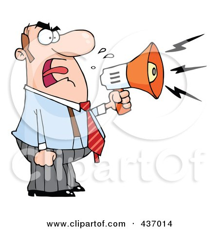 Royalty-Free (RF) Clipart Illustration of a Caucasian Businessman Yelling Through A Megaphone by Hit Toon
