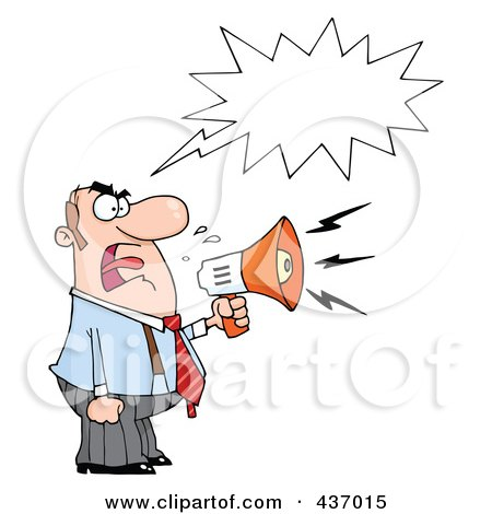 Royalty-Free (RF) Clipart Illustration of a Caucasian Businessman Yelling Through A Megaphone With A Speech Balloon by Hit Toon