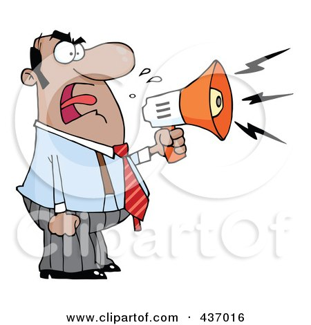 Royalty-Free (RF) Clipart Illustration of a Hispanic Businessman Yelling Through A Megaphone by Hit Toon