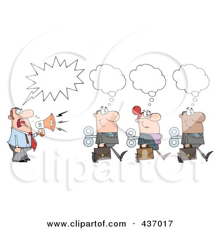 Royalty-Free (RF) Clipart Illustration of a Caucasian Businessman Shouting After His Wind Up Employees by Hit Toon