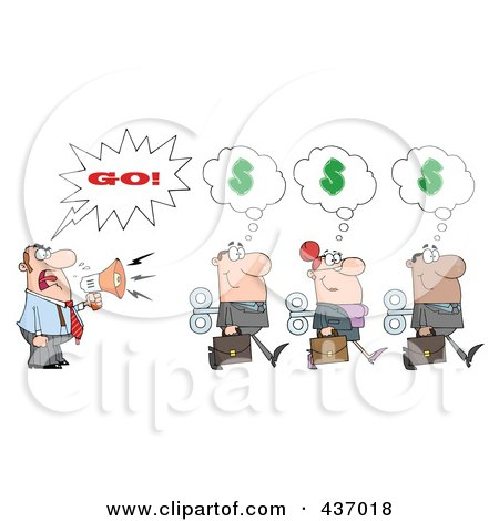 Royalty-Free (RF) Clipart Illustration of a Caucasian Businessman Shouting Go After His Wind Up Employees by Hit Toon