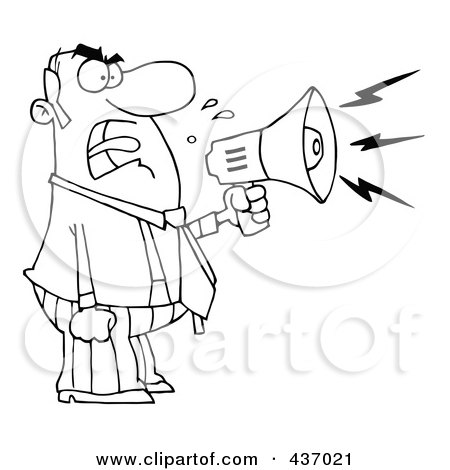 Royalty-Free (RF) Clipart Illustration of an Outlined Angry Boss Yelling Through A Megaphone by Hit Toon