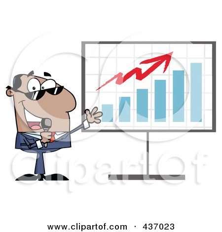 Royalty-Free (RF) Clipart Illustration of a Hispanic Tv Show Host Presenting A Bar Graph by Hit Toon