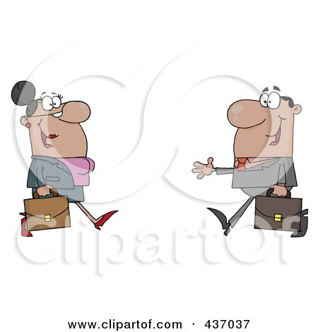 Royalty-Free (RF) Clipart Illustration of a Black Businessman And Woman Meeting by Hit Toon
