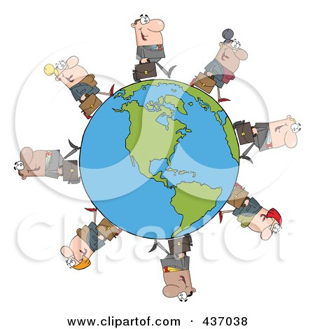Royalty-Free (RF) Clipart Illustration of a Business People Walking Around An American Globe by Hit Toon
