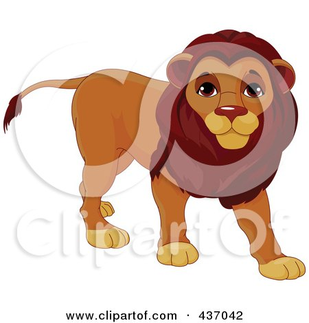 Royalty-Free (RF) Clipart Illustration of a Cute Male Lion Walking by Pushkin