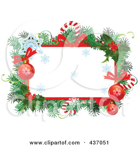 Royalty-Free (RF) Clipart Illustration of a Christmas Frame Of Branches, Candy Canes, Snowflakes, Bows And Baubles by Pushkin