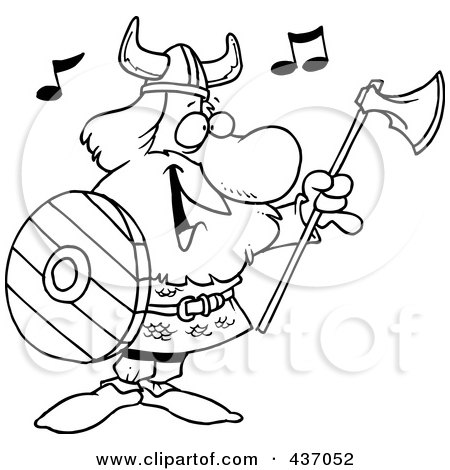 Royalty-Free (RF) Clipart Illustration of a Black And White Outline Design Of A Male Viking Holding An Ax And Shield And Singing by toonaday