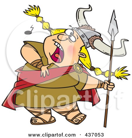 Royalty-Free (RF) Clipart Illustration of a Blond Female Viking Singing A Song And Holding A Spear by toonaday