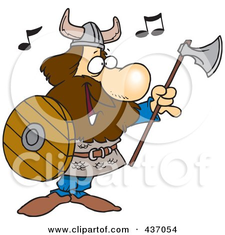 Royalty-Free (RF) Clipart Illustration of a Cartoon Male Viking Holding An Ax And Shield And Singing by toonaday