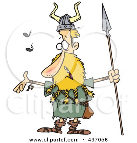 Royalty-Free (RF) Clipart Illustration of a Skinny Blond Male Viking Holding A Speark And Singing by toonaday