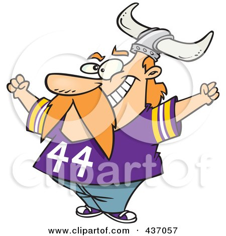 Royalty-Free (RF) Clipart Illustration of a Viking Fan Wearing A Purple Shirt And Helmet And Cheering by toonaday