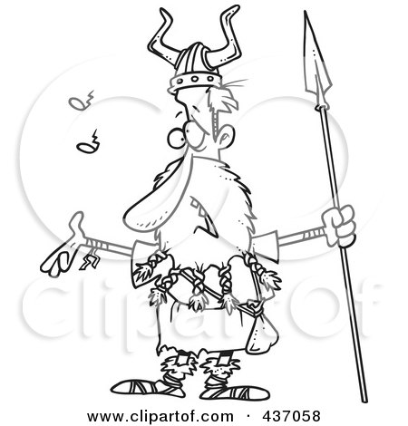 Royalty-Free (RF) Clipart Illustration of a Black And White Outline Design Of A Skinny Male Viking Holding A Spear And Singing by toonaday
