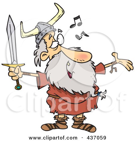 Royalty-Free (RF) Clipart Illustration of an Old Male Viking Holding A Sword And Singing by toonaday