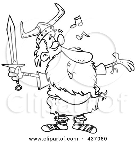 Royalty-Free (RF) Clipart Illustration of a Black And White Outline Design Of An Old Male Viking Holding A Sword And Singing by toonaday