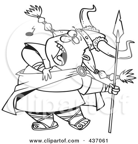 Royalty-Free (RF) Clipart Illustration of a Black And White Outline Design Of A Female Viking Singing A Song And Holding A Spear by toonaday