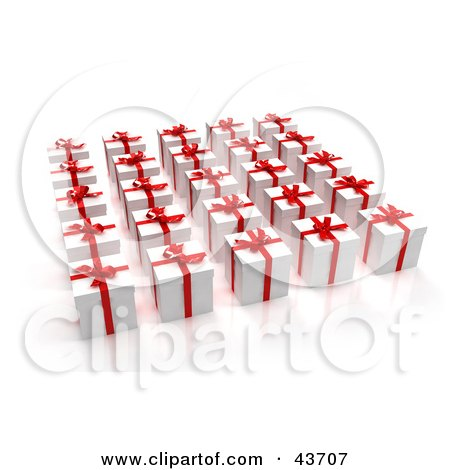 Clipart Illustration of 3d Presents Wrapped In White With Red Ribbons And Bows by Frank Boston