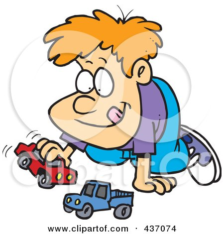 Royalty-Free (RF) Clipart Illustration of a Cartoon Boy Playing With Toy Cars by toonaday