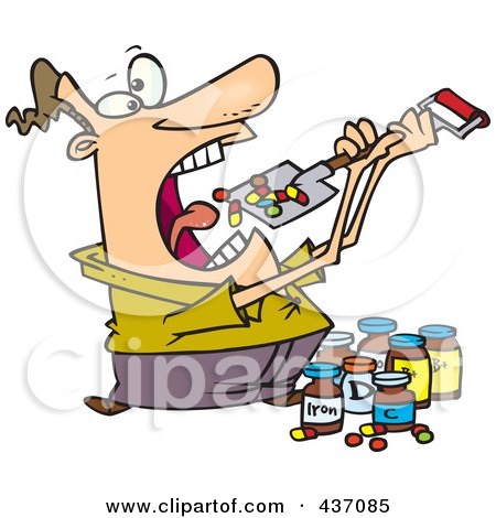 Royalty-Free (RF) Clipart Illustration of a Cartoon Man Shoveling Dietary Supplements Into His Mouth by toonaday