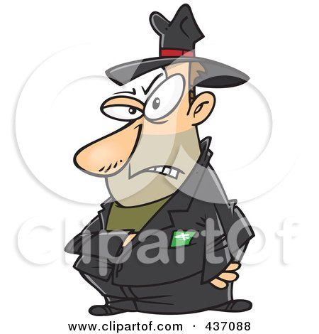 Royalty-Free (RF) Clipart Illustration of a Mean Villain Reaching Into His Jacket by toonaday