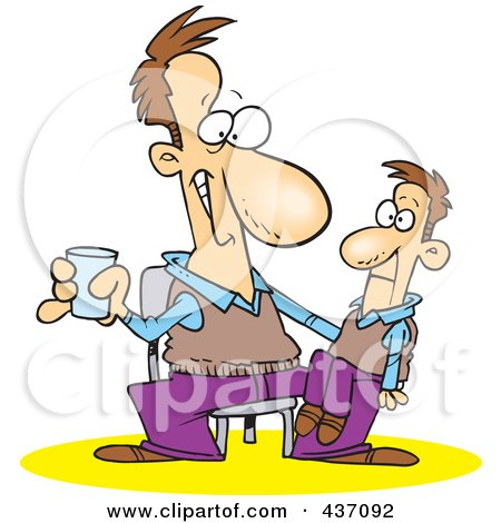 Royalty-Free (RF) Clipart Illustration of a Performing Man With A Ventriloquist Doll On His Lap by toonaday