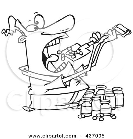 Royalty-Free (RF) Clipart Illustration of a Black And White Outline Design Of A Man Shoveling Dietary Supplements Into His Mouth by toonaday