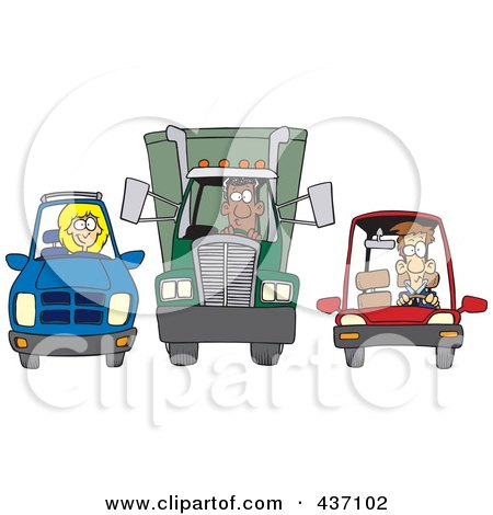 Royalty-Free (RF) Clipart Illustration of an SUV, Big Rig And Car At A Stop Light by toonaday