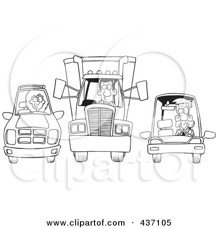 Royalty-Free (RF) Clipart Illustration of a Black And White Outline Design Of An SUV, Big Rig And Car At A Stop Light by toonaday