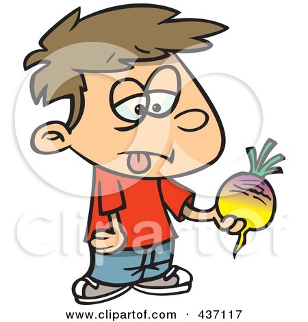 Royalty-Free (RF) Clipart Illustration of a Disgusted boy Holding A Turnip by toonaday