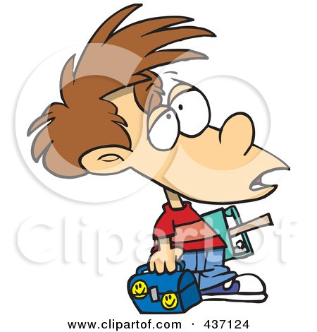 Royalty-Free (RF) Clipart Illustration of a Victimized Boy With Something On His Forehead by toonaday
