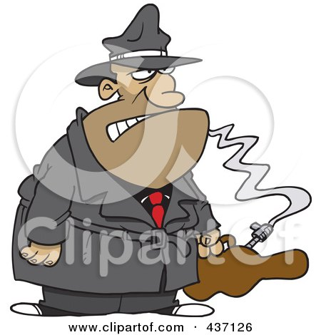 Royalty-Free (RF) Clipart Illustration of a Cartoon Gangster With A Gun In A Violin Case by toonaday